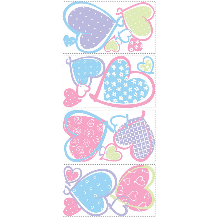 Colorful Pastel Hearts Wall Decals