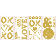 Gold Love Letters with Hearts and Arrows Wall Decals
