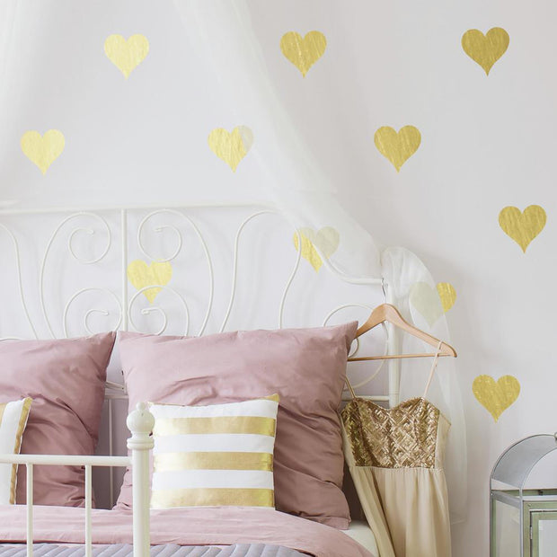 Gold Foil Hearts Wall Decals