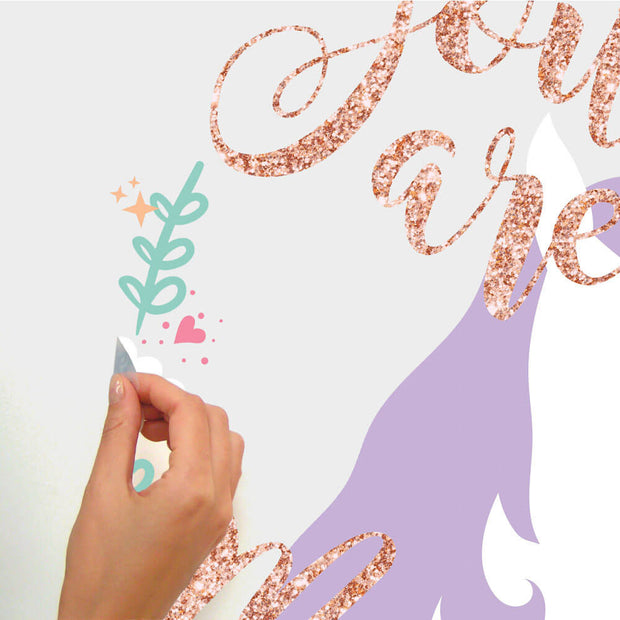 RMK3627GM Unicorn Magic Peel and Stick Wall Decals with Glitter