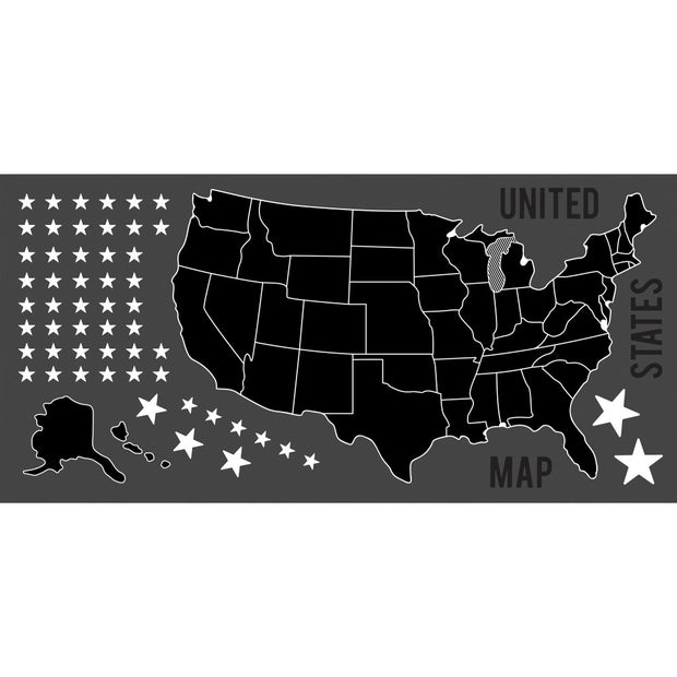 United States Map Chalk Peel and Stick Giant Wall Decals