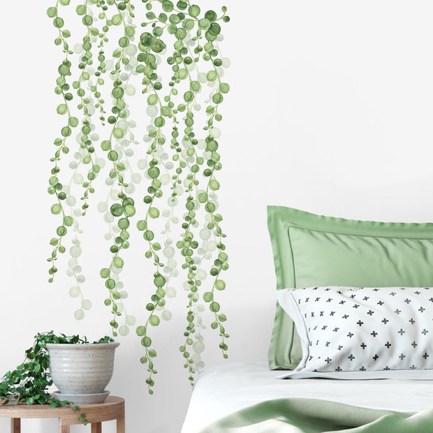 Green String of Vines Peel and Stick Wall Decals