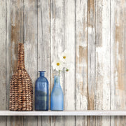 Distressed Wood Peel and Stick Wallpaper - Tan