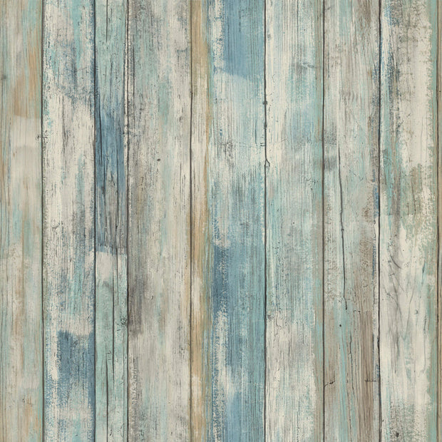 Distressed Wood Peel and Stick Wallpaper - Blue