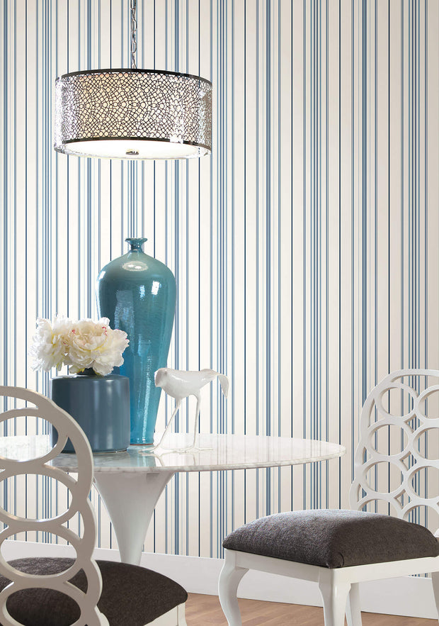 SA9111 Stripes Resource Library Wide Pinstripe Wallpaper Blue