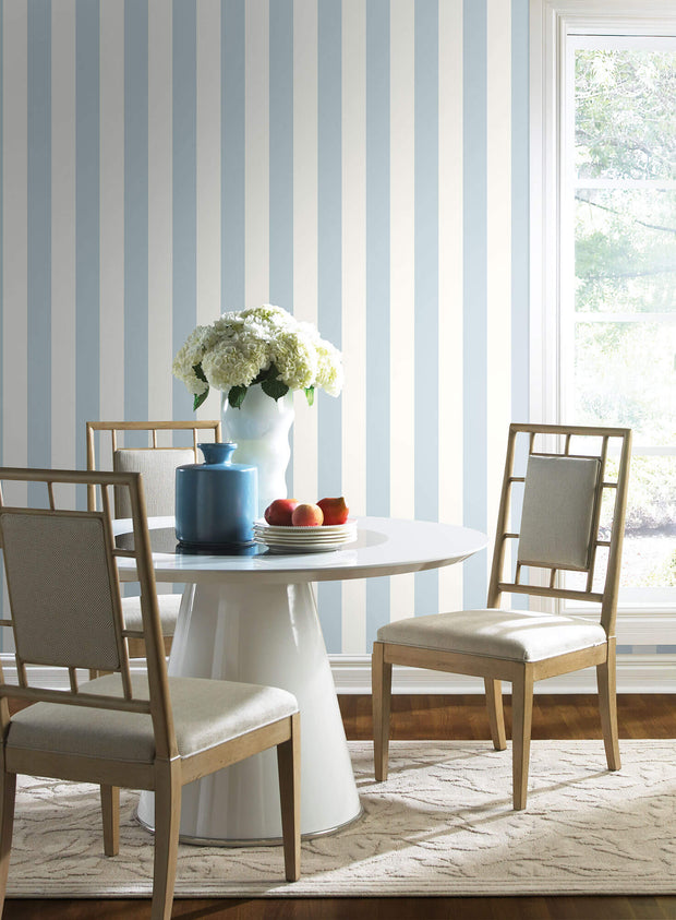 SA9176 3 inch Stripe Wallpaper Blue White