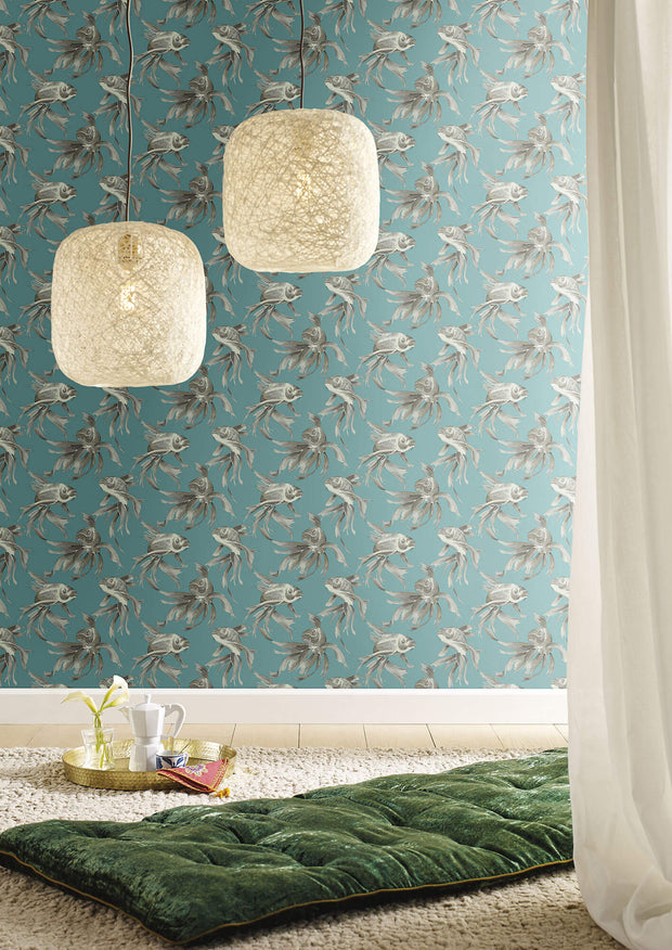 Candice Olson Tranquil Koi Wallpaper - Blue