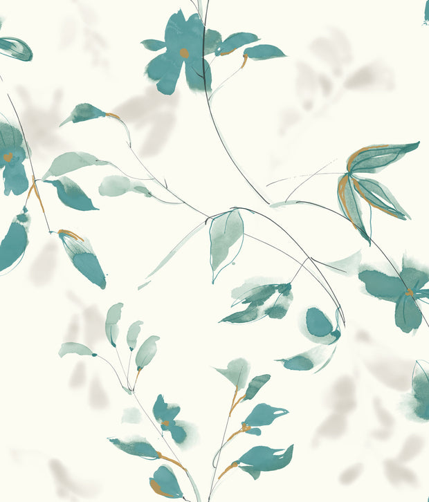 Candice Olson Tranquil Linden Flower Wallpaper - Teal