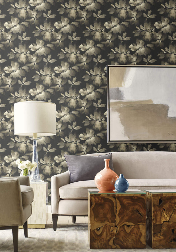 Candice Olson Tranquil Midnight Blooms Wallpaper - Black