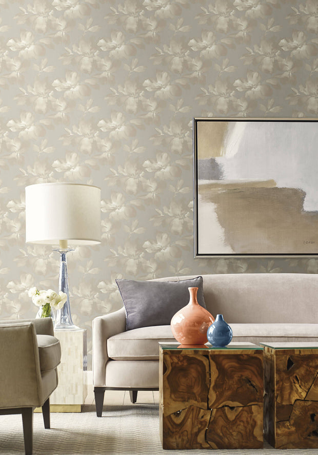Candice Olson Tranquil Midnight Blooms Wallpaper - Gray