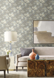 Candice Olson Tranquil Midnight Blooms Wallpaper - Gray & Blue