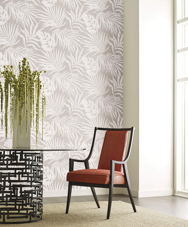 Candice Olson Tranquil Paradise Palm Wallpaper - Gray