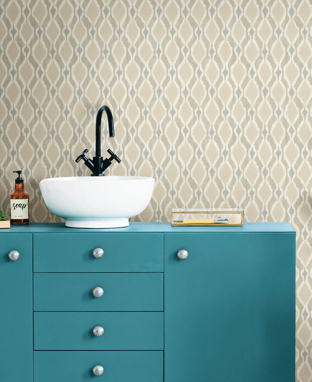 Dyed Ogee Wallpaper - Taupe