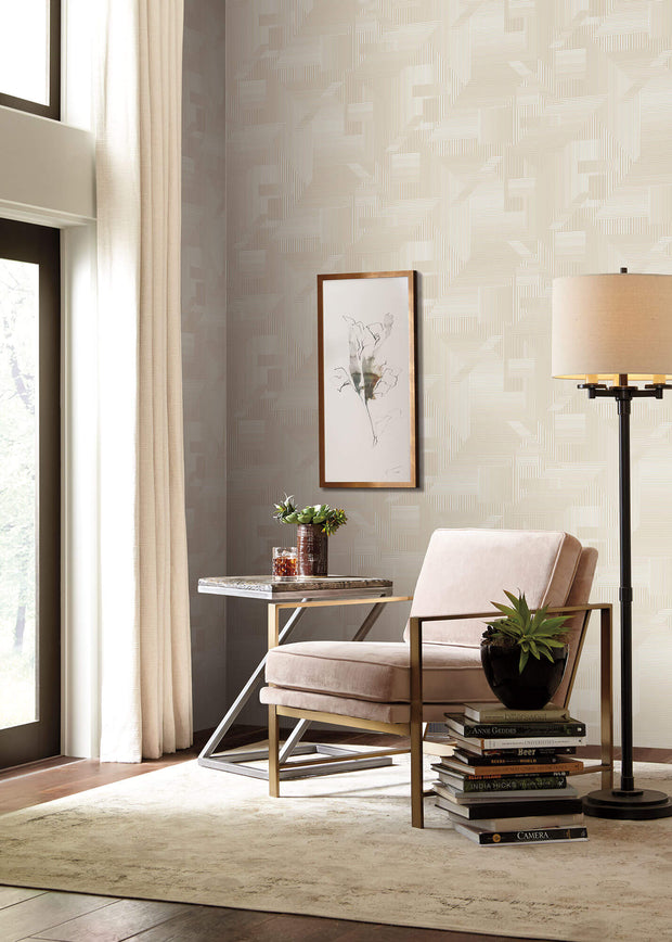 SR1533 All Lined Up Wallpaper Beige White
