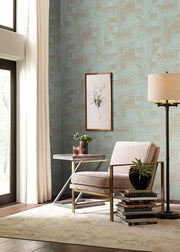 SR1535 All Lined Up Wallpaper Spa Blue Gold