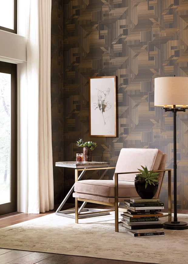 SR1536 All Lined Up Wallpaper Black Gold