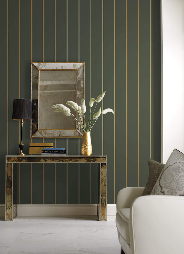 SR1544 Social Club Stripe Wallpaper Green Gold