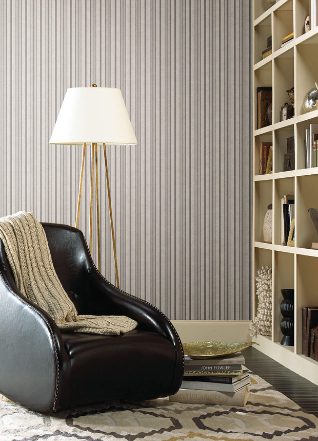 SR1551 Stripes Resource Library Shirting Stripe Wallpaper Black Gray