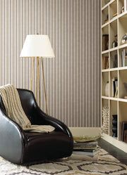 SR1552 Stripes Resource Library Shirting Stripe Wallpaper Gray/Cream
