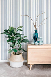 SR1584 French Linen Stripe Wallpaper Blue