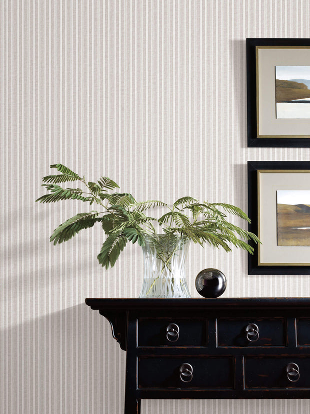 SR1591 New Ticking Stripe Wallpaper Gray