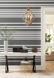 SR1615 Stripes Resource Library Scholarship Stripe Wallpaper Charcoal