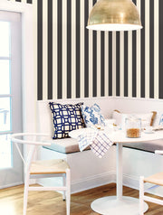 ST5691 3 inch Stripe Wallpaper Black White