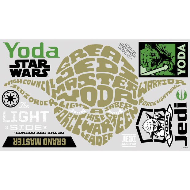 Star Wars Typographic Yoda Giant Wall Stickers