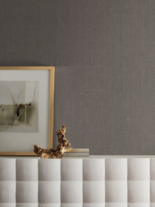 Grasscloth Resource Library Hemp Yarn Wallpaper - Dark Gray