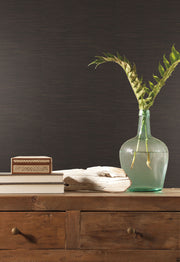 Grasscloth Resource Library Inked Grass Wallpaper - Black