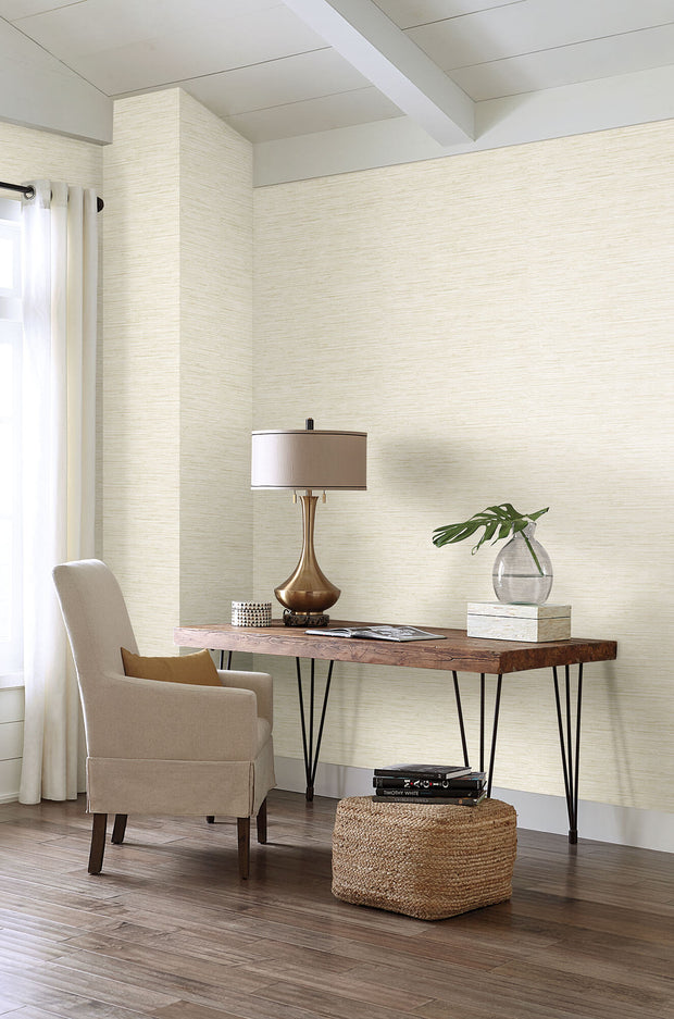 Horizontal Grasscloth Wallpaper - Light Cream