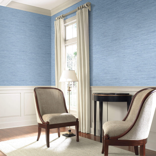 Horizontal Faux Grasscloth Wallpaper - Denim Blue