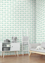 Elephants Love Wallpaper - Green