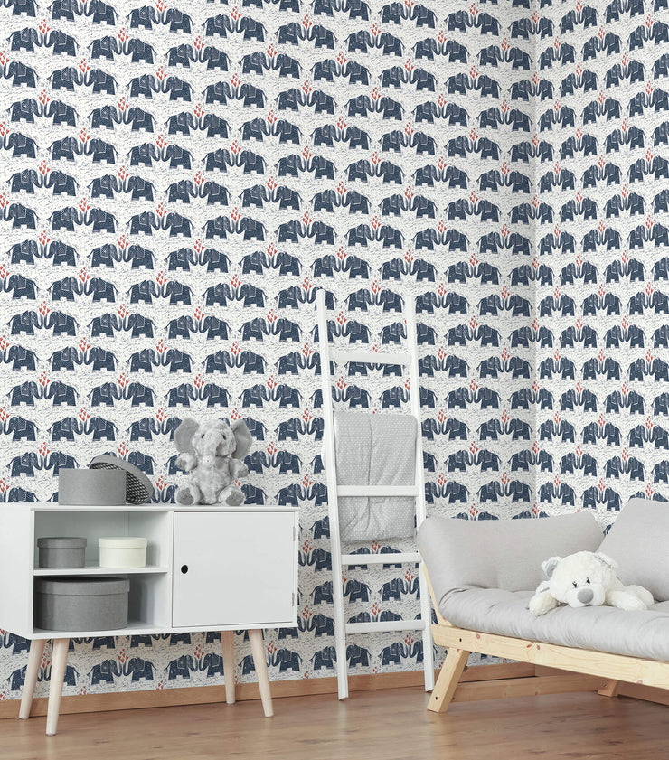 Elephants Love Wallpaper - Blue