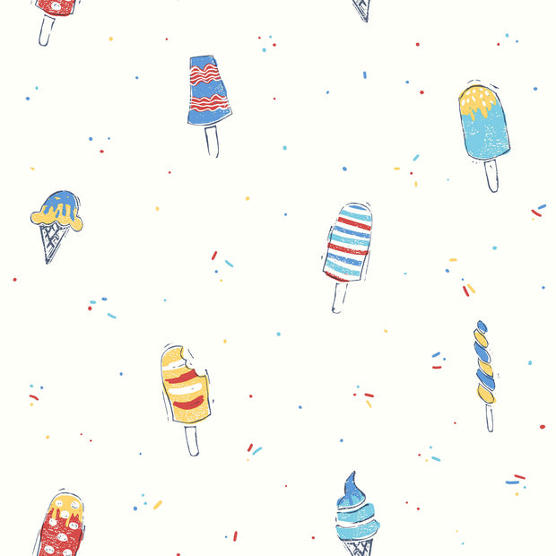 Ice Cream Wallpaper - Blue, Red, Yellow