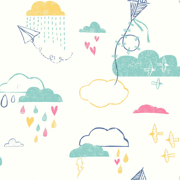 Kites In The Clouds Wallpaper - Blue/Yellow/Pink
