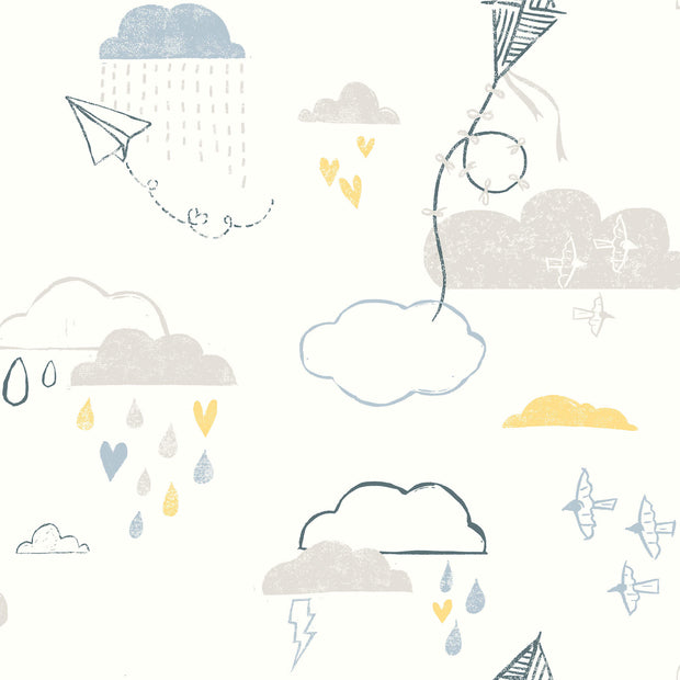 Kites In The Clouds Wallpaper - Gray/Blue/Yellow