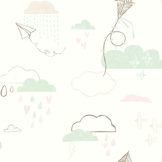 Kites In The Clouds Wallpaper - Brown/Green/Pink