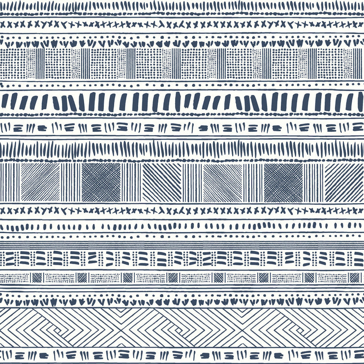 Tribal Print Wallpaper - Blue