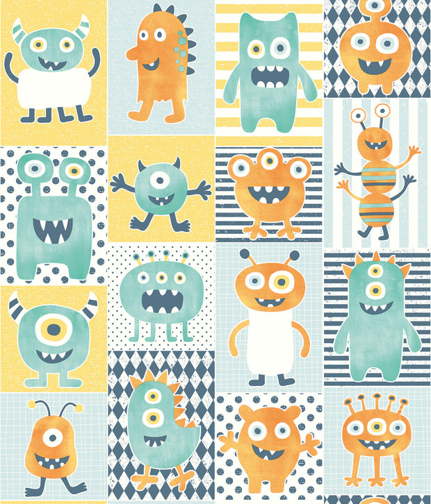 Monster Party Wallpaper - Yellow/Orange/Blue
