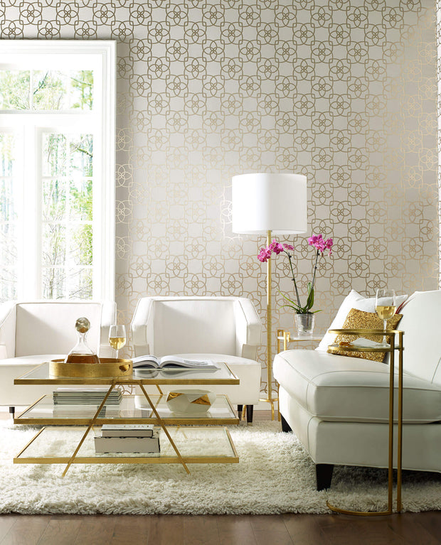 Serendipity Wallpaper - Cream & Metallic Gold