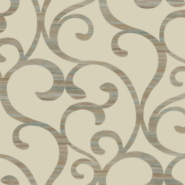 Dazzling Coil Wallpaper - Beige & Metallic Brown Blue
