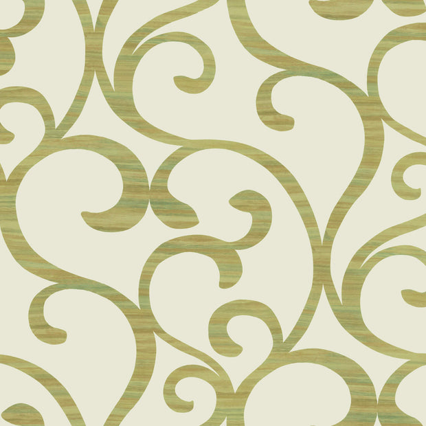 Dazzling Coil Wallpaper - Cream & Metallic Yellow Green
