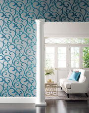 Dazzling Coil Wallpaper - Grey & Metallic Blue