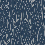 Leaf Silhouette Wallpaper - Blue & Metallic Silver