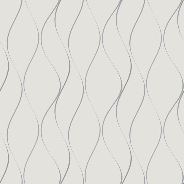 Wavy Stripe Wallpaper - Off White/Silver