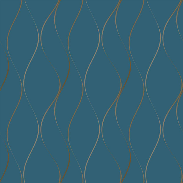 Wavy Stripe Wallpaper - Blue/Gold