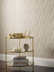 Wavy Stripe Wallpaper - Beige, Gold, Silver