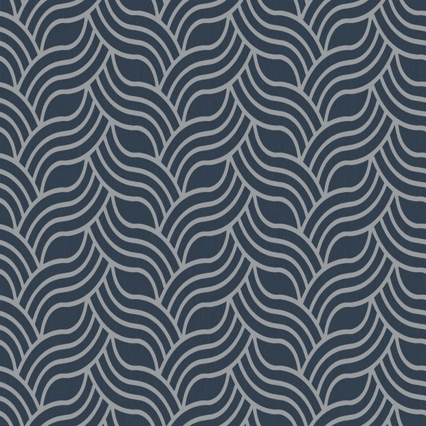 Interlocking Geo Wallpaper - Blue & Metallic Silver