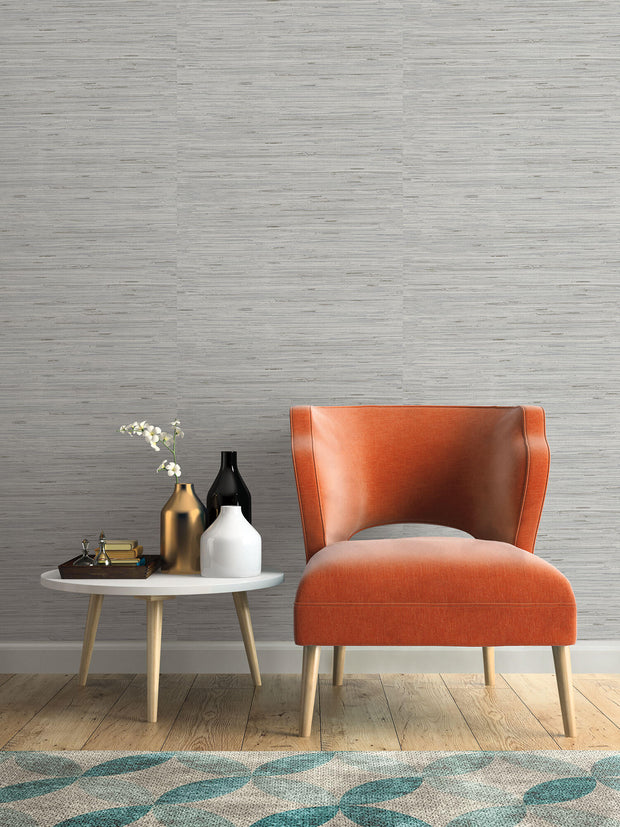 Lustrous Grasscloth Wallpaper - Silver/Gray
